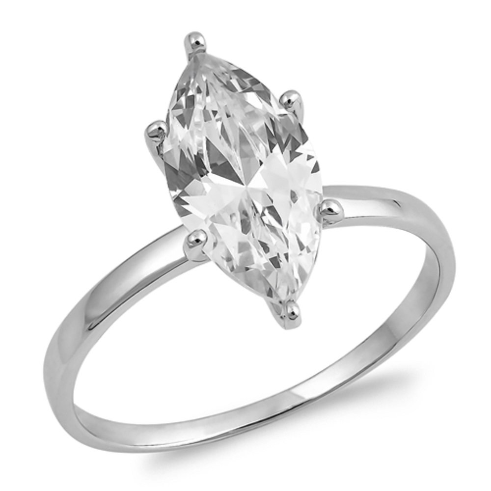 Marquise Cubic Zirconia Classic Solitaire Ring Sterling Silver Size 10