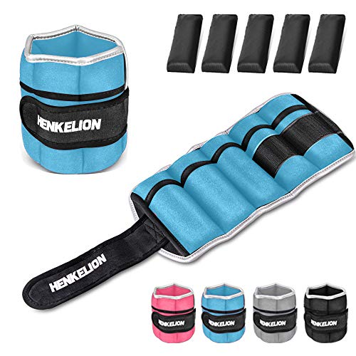 Henkelion 1 Pair 6Lbs Adjustable Ankle Weights for Women Men Kids, Wrist Weights Ankle Weights Sets for Gym, Fitness Workout, Running, Lifting Exercise Leg Weights - Each 3 Lbs Blue