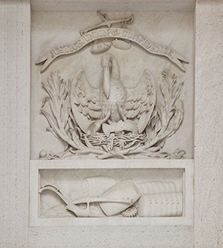 24 x 36 Giclee Print of Bas Relief at The U.S. Custom House in New Orleans Louisiana. Louisiana State Seal by Auguste De Frasse. Date: ca. 1857. Dimensions: 12' x 20'. Materials: Marble sculptu