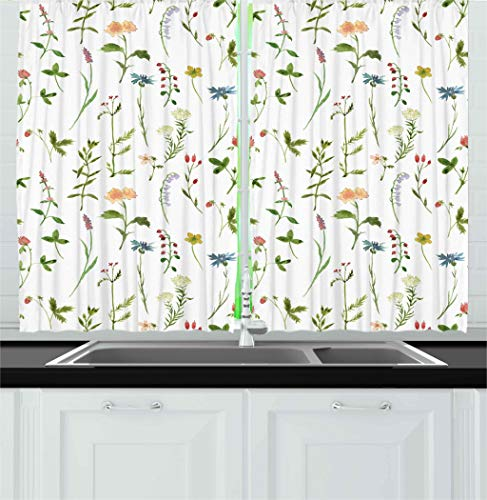 Ambesonne Floral Kitchen Curtains, Spring Season Themed Watercolors Painting of Herbs Flowers Botanical Garden Artwork, Window Drapes 2 Panels Set for Kitchen Cafe, 55 W X 39 L Inches, Multicolor