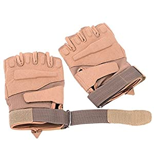 Military Half-finger Cycling/Biking Mitts Sun-resistant Hunting Riding Cycling Climbing Gloves-Beige-XL