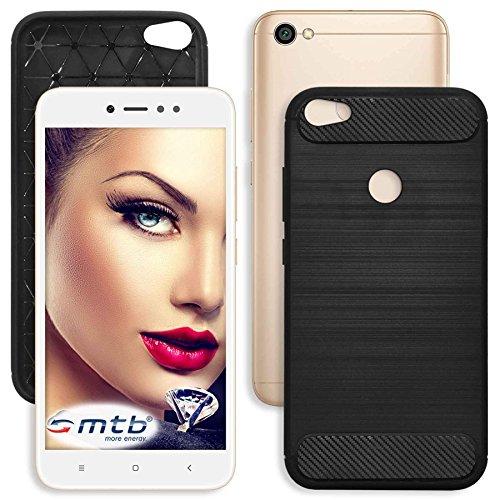 mtb more energy® Funda TPU Carbono para Xiaomi Redmi Note 5A (5.5)   Negro   flexible   delgada   Carcasa Suave Cascara