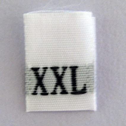 SIZE 2XL 25 PCS BLACK TAFFETA WOVEN CLOTHING LETTER SIZE TAG LABEL
