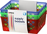 Officemate OIC Achieva Medium Supply Baskets, Pack of 3, Comes in Assorted Colors (26203)