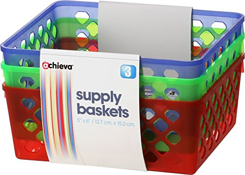 Officemate OIC Achieva Medium Supply Baskets, Pack of 3, Comes in Assorted Colors (26203) (Prescription Bins)