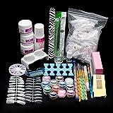 Yoyorule 22Acrylic Nail Art Tips Powder Liquid Brush Glitter Clipper Primer File Set