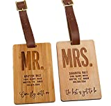 Personalized Mr and Mrs Luggage Tags 2.5'' x 4'' - Unique Travel Gifts for Couples, Engraved and Made of Wood (Bamboo Wood Type, Mr. and Mrs. Hale Design)