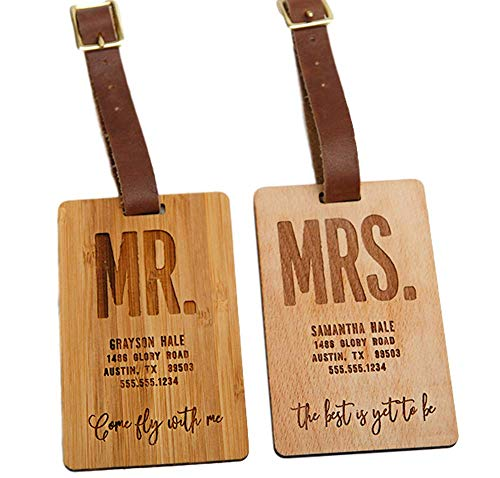 Personalized Mr and Mrs Luggage Tags 2.5'' x 4'' - Unique Travel Gifts for Couples, Engraved and Made of Wood (Bamboo Wood Type, Mr. and Mrs. Hale Design) by Qualtry