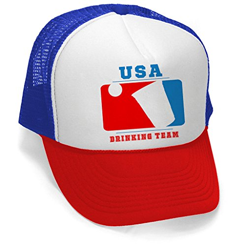 Men's USA Beer Drinking Team Hat PLY B925 Blue/Red Trucker Hat One (Us Beer Drinking Team)