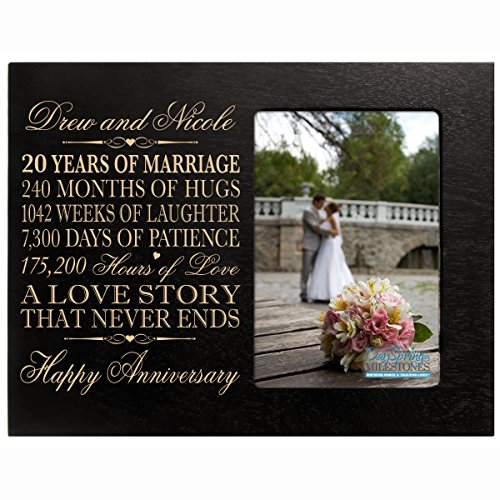 Personalized twenty year anniversary gift for her him couple Custom Engraved 20th year wedding anniversary celebration frame holds 4x6 photo frame size 10