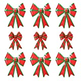 Red & Green Christmas Decorative Bow Bundle - Set of 3 Medium Plaid PVC Bows (11'' x 14'') and 6 Large PVC Bows (19'' x 24'')