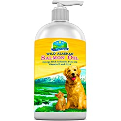 OMEGA 3 Fish Oil - Nutritional Supplement for Dogs & Cats - Wild Alaskan Salmon Oil, Icelandic Fish Oil, plus Organic Borage Oil, GLA & Vitamin E for a Healthy Coat | DHA & EPA Promotes Joint Health