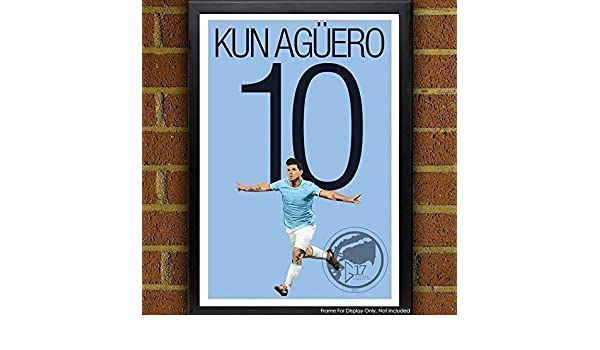 Amazon.com: Sergio Agüero Poster - Manchester City Art: Handmade
