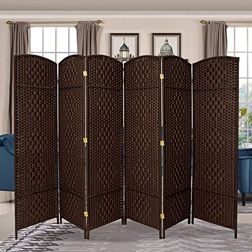 Divider Room Panel Wood - RHF 6 ft. Tall-Extra Wide-Diamond Weave Fiber Room Divider,Double Hinged,6 Panel Room Divider/Screen, Room Dividers and Folding Privacy Screens 6 Panel, Freestanding Room Dividers-Dark Coffee 6 Panel