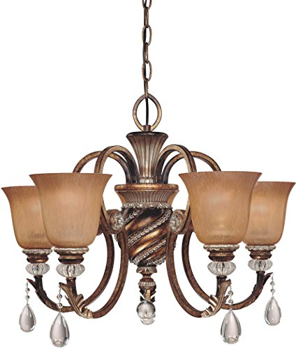Minka Lavery Crystal Chandelier Lighting 174-206, Aston Court Candle, 1 Tier 5 Light, 300 Watts, Bronze 5 Light 1 Tier Crystal