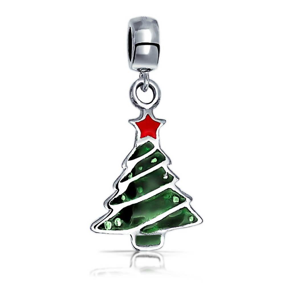 Bling Jewelry Christmas Pine Tree Dangle Charm Bead .925 Stelring Silver PBX-HSD-156