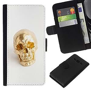 KLONGSHOP // Tirón de la caja Cartera de cuero con ranuras para tarjetas - Nugget Scull blanca minimalista Bling - Samsung Galaxy A3 //
