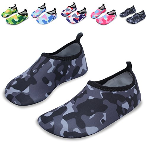 (L-RUN Kids Swim Water Shoes Barefoot Aqua Socks Shoes for Beach Pool Surfing)