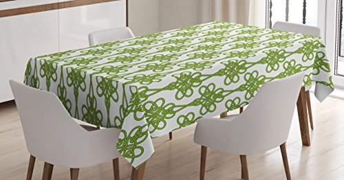 (Ambesonne Irish Tablecloth, Entangled Clover Leaves Twigs Celtic Pattern Botanical Filigree Inspired Retro Tile, Dining Room Kitchen Rectangular Table Cover, 52 W X 70 L Inches, Green Cream)