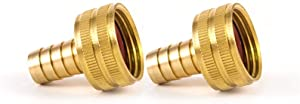 VE-FITS Brass Garden Hose Swivel Fitting Connector, 3/4 Inch Female Hose x 3/8 Inch Male Barb, Garden Hose Connectors (2 Pieces)