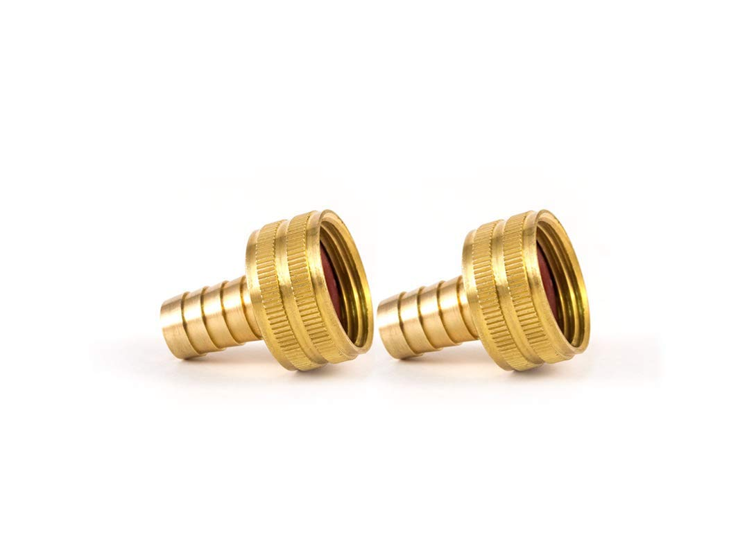 VE-FITS Brass Garden Hose Swivel Fitting Connector, 3/4 Inch Female Hose x 1/2 Inch Male Barb (2 Pieces)