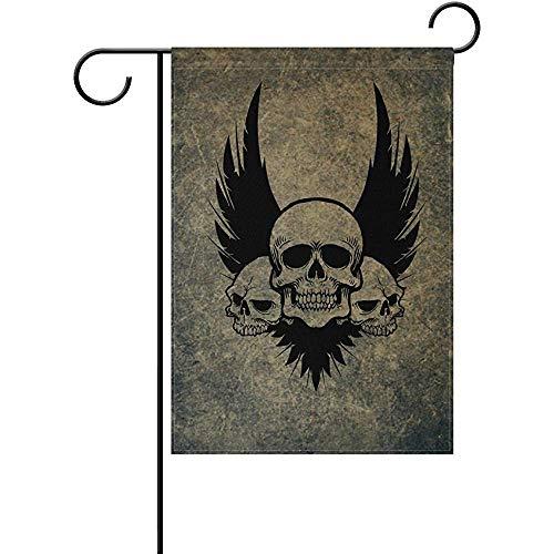 Skull Crossbones Wings - Johnnie Awesome Skull Crossbones Wings Double Sided Garden Yard Flag 12