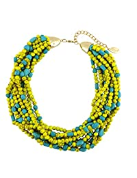 Bocar Multiple Strand Turquoise Acrylic Beaded Statement Collar Necklace for Women (NK-10545)