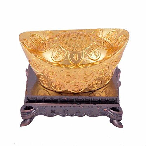 fengshuisale Feng Shui Golden Chinese Wealth Ingots W Free Red String Bracelet K1032-1