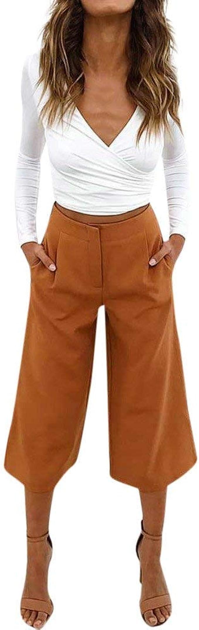 7 8 Pantalones Para Mujeres Facil Barato Pantalones Mujeres De Cintura Moda Completi Alta De Verano Elegantes Pantalones Elegantes Chinos Casual Falda Pantalon Fino Airy Pantalones Comodos Culottes Amazon Es Ropa Y Accesorios