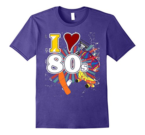 Mens I Love The 80s Eighties Novelty T-Shirt Large Purple (80s Fancy Dress Mens)
