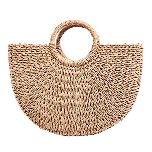 Hand-woven Straw Large Hobo Bag for Women Round Handle Ring Toto Retro Summer Beach Bag Beach Bag. (Coyote ()