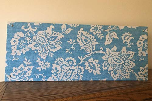 Be Transformed Studio -10 Inch x 20 Inch - Elegant Blue and White Damask Fabric Magnet Board - Bulletin Board - Magnetic - Home or Office Organizer