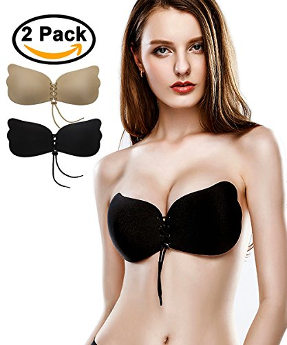 Strapless Backless Bra Self Adhesive Pushup Invisible Bras for Women 2 Pack E (High Quality Bra)