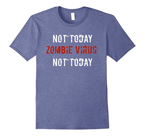 Mens Zombie Virus Funny Halloween Shirt Humor Costume Gift Idea 3XL Heather Blue (Ghoul Halloween Costume Ideas)