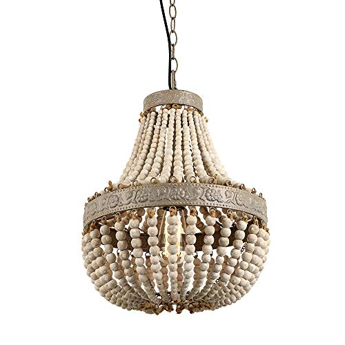 Newrays Wood Bead Chandelier Pendant Gray White Finishing Retro Vintage Antique Rustic Kitchen Ceiling Lamp Light Fixtures (And Pendants Chandeliers)