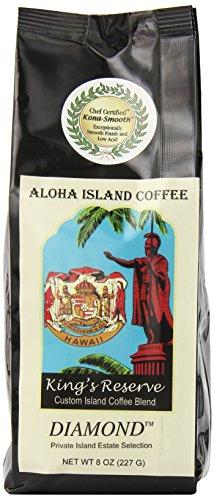 Aloha Island Coffee Kona Smooth DIAMOND Kings Reserve Hawaiian Blend Coffee, 8 Oz Whole Bean