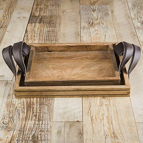 Rusticity Wooden Serving Tray for Dining/Breakfast/Coffee Table - Leather Handle - Set of 2 | Handmade | (11x8in, 12x10in)