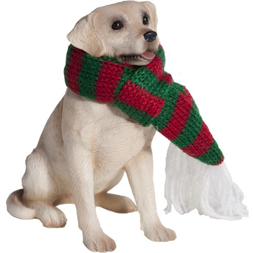 Labrador Dog Gift Box (Sandicast Yellow Labrador Retriever with Red and Green Scarf Christmas Ornament)