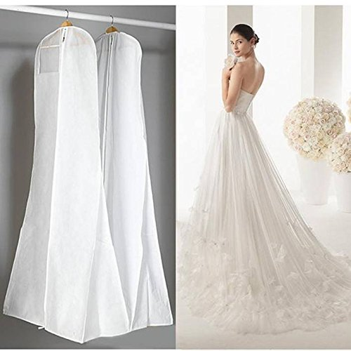 Large Garment Bags 72 Saver Dustproof Cover Storage Bag Wedding Dress Bag Prom Ball Gown Garment Clothes Protector (White)