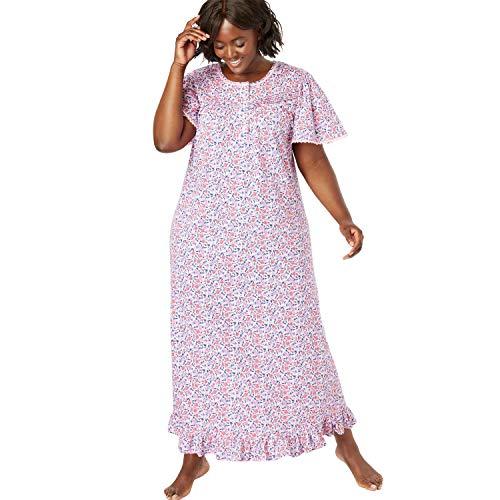 - Dreams & Co. Women's Plus Size Long Floral Print Cotton Gown - Raspberry Sorbet Floral, 6X