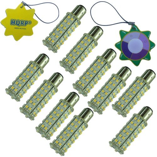 HQRP 10-Pack BA15s Bayonet Base 66 LEDs SMD 3528 LED Bulb Cool White for #1141 #1156 Lance Travel Trailer Interior Light Replacement + HQRP UV Meter by HQRP