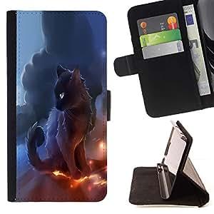 For Samsung Galaxy S4 Mini i9190 (NOT S4) Case , Trueno negro gato- la tarjeta de Crédito Slots PU Funda de cuero Monedero caso cubierta de piel
