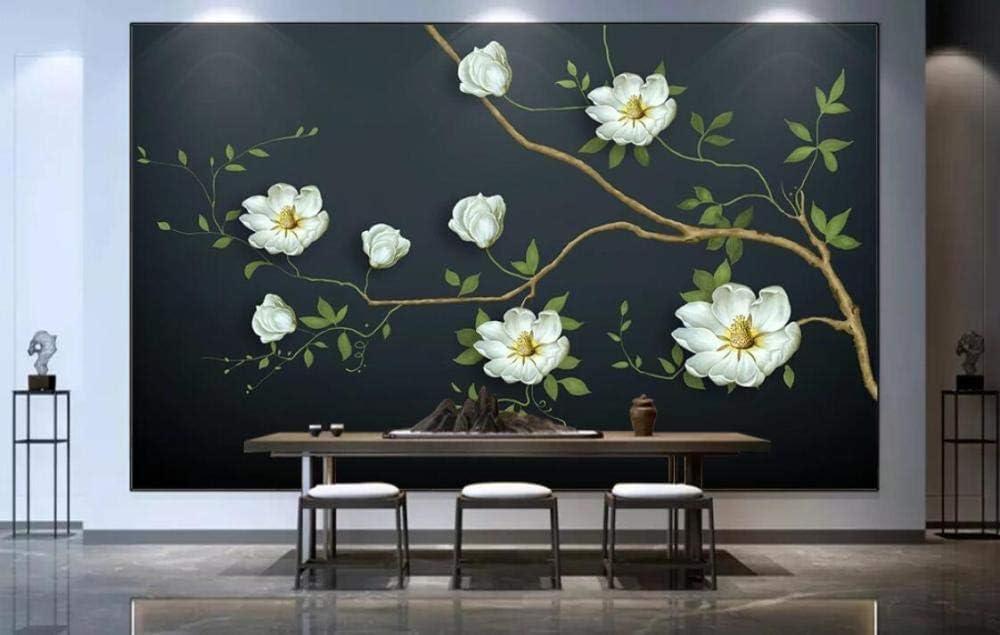 SKTYEE Mural de papel tapiz de flores vintage europeo con fondo azul oscuro Papel de o Papeles de pared 3d Decoración para el hogar Telón de fondo de maquillaje, 300x210 cm (118.1 by 82.7 in)