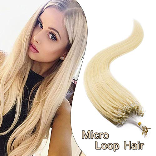 Micro Loop Ring Hair Extensions Nano Rings Human Hair Bleach Blonde #613 Silky Straight 100 Strands 50g Micro Link Hairpieces 22 Inch