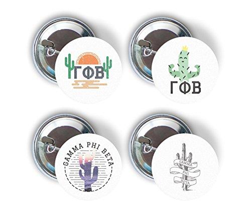 - Gamma Phi Beta Sorority Cactus Desert Variety Pack of Buttons Pin Back Badge 2.25-inch