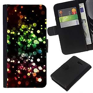 EJOY---La carpeta del tirón la caja de cuero de alta calidad de la PU Caso protector / Sony Xperia M2 / --Vibrante Círculo Anillo Negro Rosa