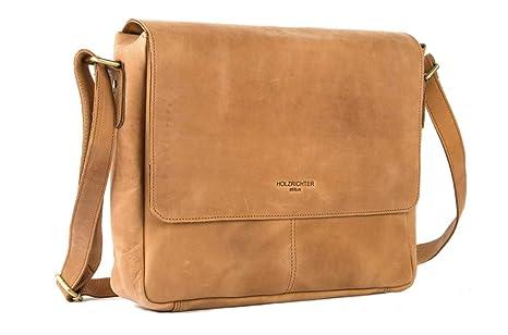a3af205983154 HOLZRICHTER Berlin - Premium Umhängetasche (S) aus Leder - Handgefertigte  Laptop Messenger Bag im