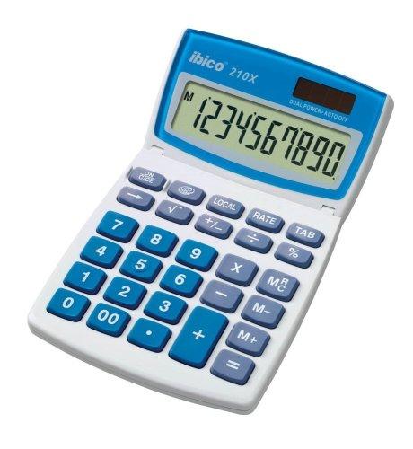 Ibico 210X Desktop Calculator with Adjustable Tilt Display - Solar and Battery Powered -