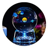 Solar System Balls - Crystal Ball for Kids with LED Lamp Base, Clear 80mm(3 inch) Glass Sphere for Kids Birthday Gifts, Teacher Gifts,Gift for Anniversary and Boyfriend Birthday