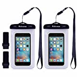 Rdxone Clear Waterproof Phone Pouch for iPhone 7, 7 Plus, 6S Plus, Samsung Galaxy s8 s7 s6, HTC, LG, Sony, Nokia ,Motorola- 7.7in x 4.2in Transparent Waterproof Phone Case (2 Pack)